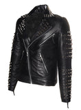 Men Designer Studded Motorcycle Leather Jacket