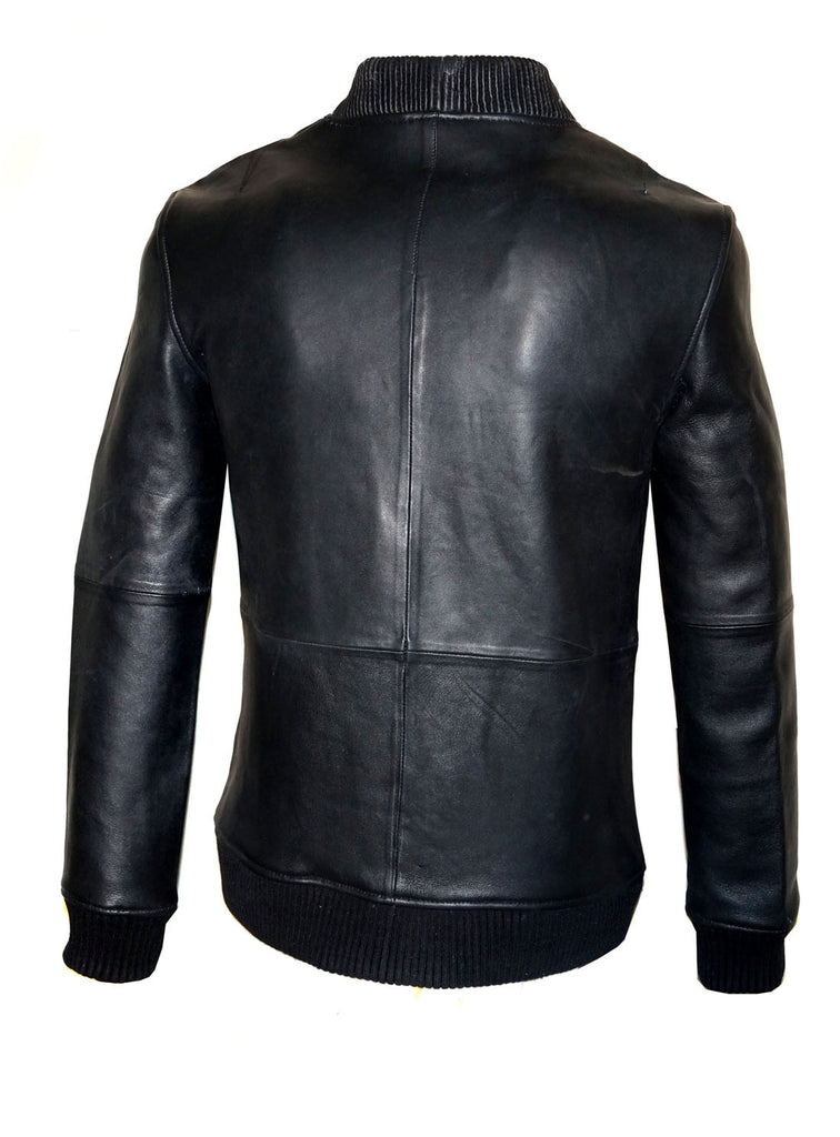 Men Leather Bomber with Leather Ribbed Collar and Structured Bonded Leather