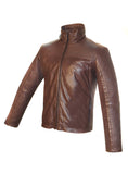 Men Washed Vintage Moto Leather Jacket