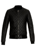 Men Leather Bomber Jacket with Designer Diamond Quilted