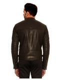 CrabRocks Men Leather Motorcycle Jacket Model MJ 071