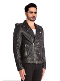Men Washed Classic Motorcycle Biker Leather Jacket