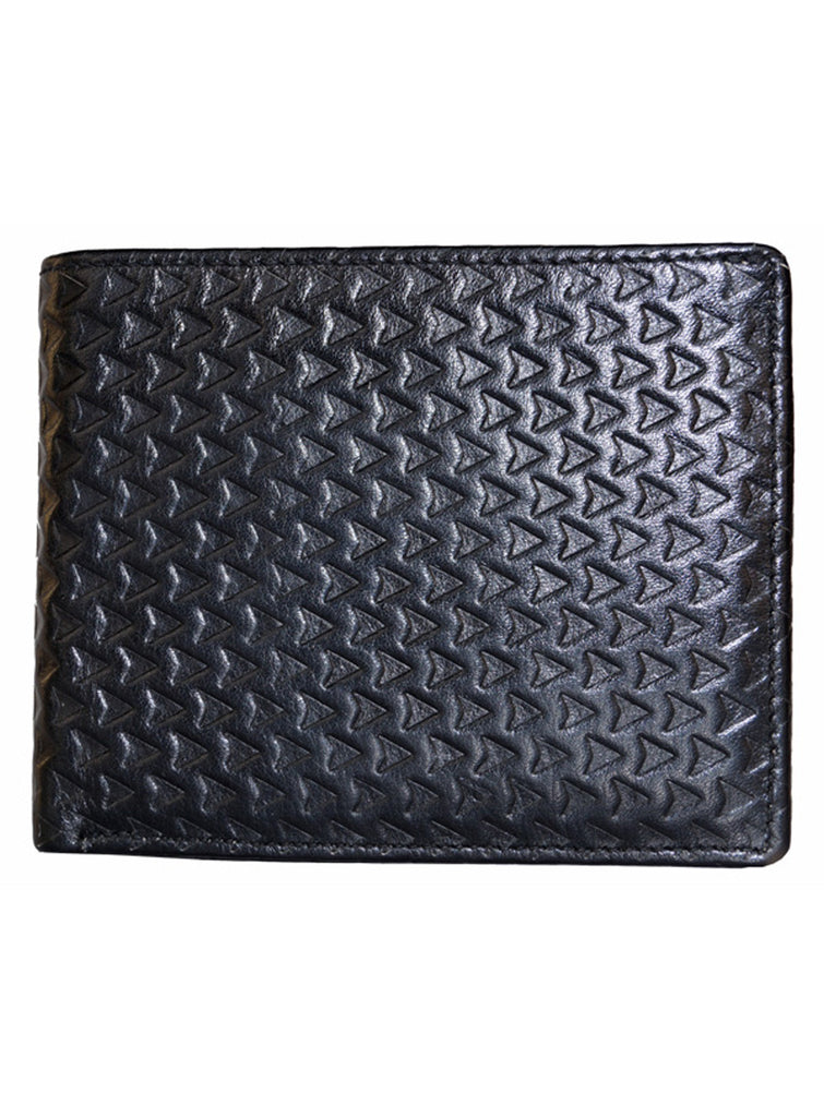 Designer Mens Leather Wallet- Triangle Embossed One Size / Black / Leather, Card Holder/Passport Holder/Cheque Book Holder - CrabRocks, LeatherfashionOnline  - 2