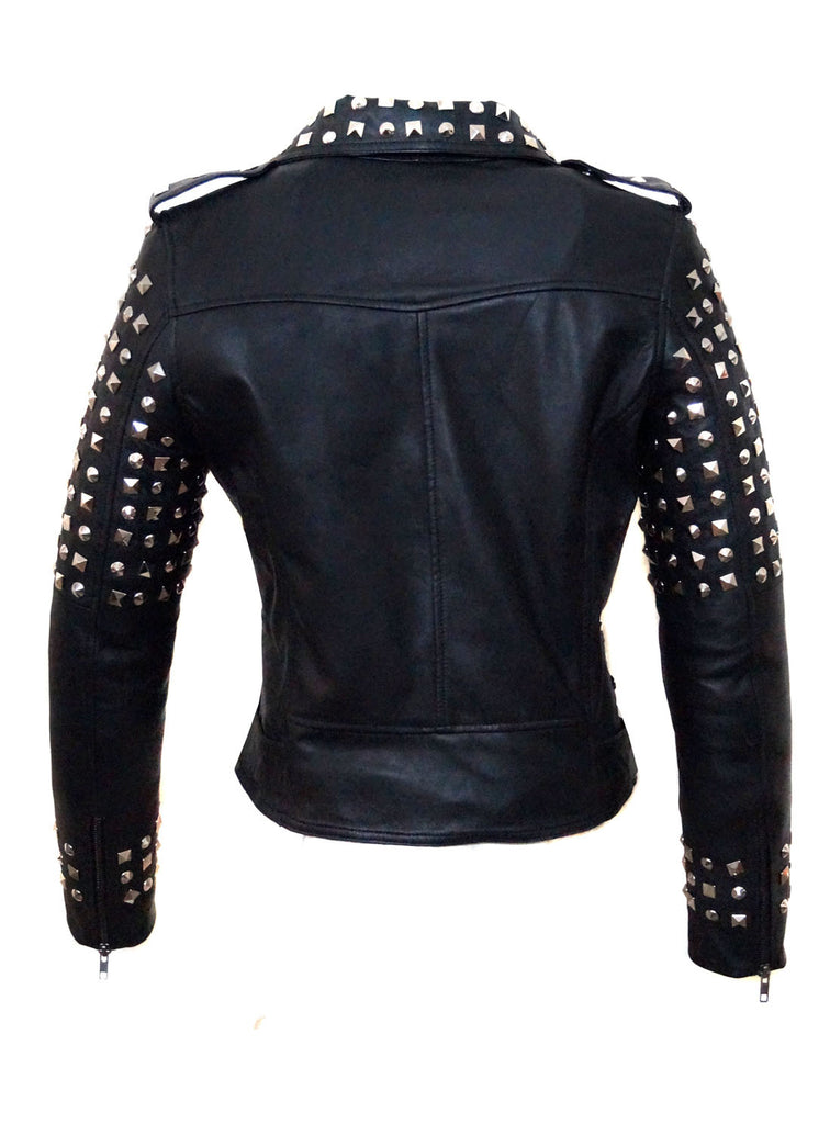 CrabRocks Leather Multi Studded Motorcycle Biker Woman Jacket with Buckle Belt , Women Jacket - CrabRocks, LeatherfashionOnline  - 3