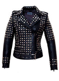 CrabRocks Leather Multi Studded Motorcycle Biker Woman Jacket with Buckle Belt Black / XS / LEATHER, Women Jacket - CrabRocks, LeatherfashionOnline  - 1