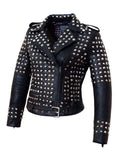 CrabRocks Leather Multi Studded Motorcycle Biker Woman Jacket with Buckle Belt , Women Jacket - CrabRocks, LeatherfashionOnline  - 2