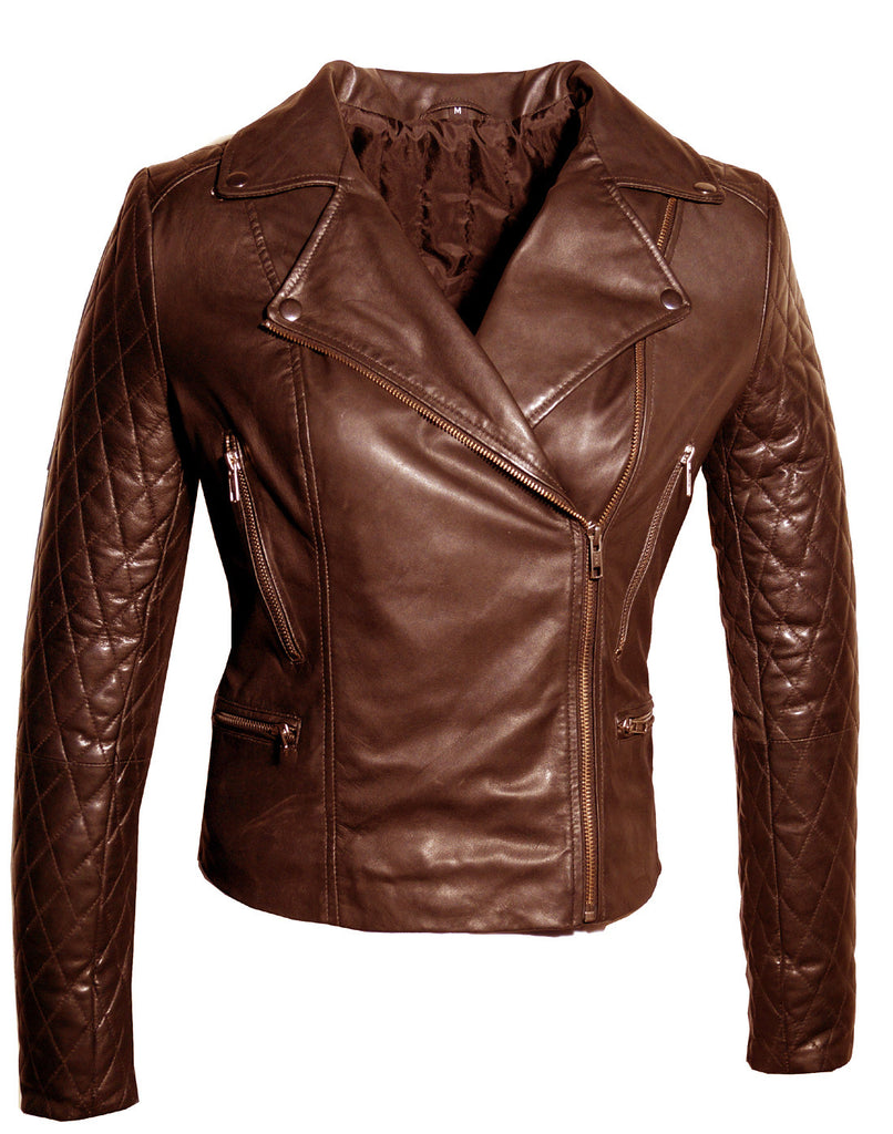 Women Leather Biker Jacket with Padded Sleeve Brown / XS / LEATHER, Women Jacket - CrabRocks, LeatherfashionOnline  - 4