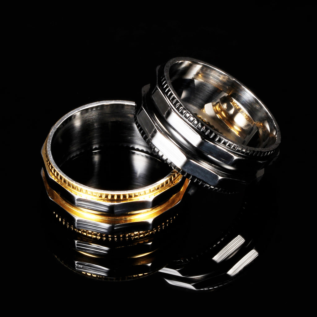 Titanium Steel Men Ring Gear Rings for Men Black Gold Color Male Ring Punk Style Party Jewelry