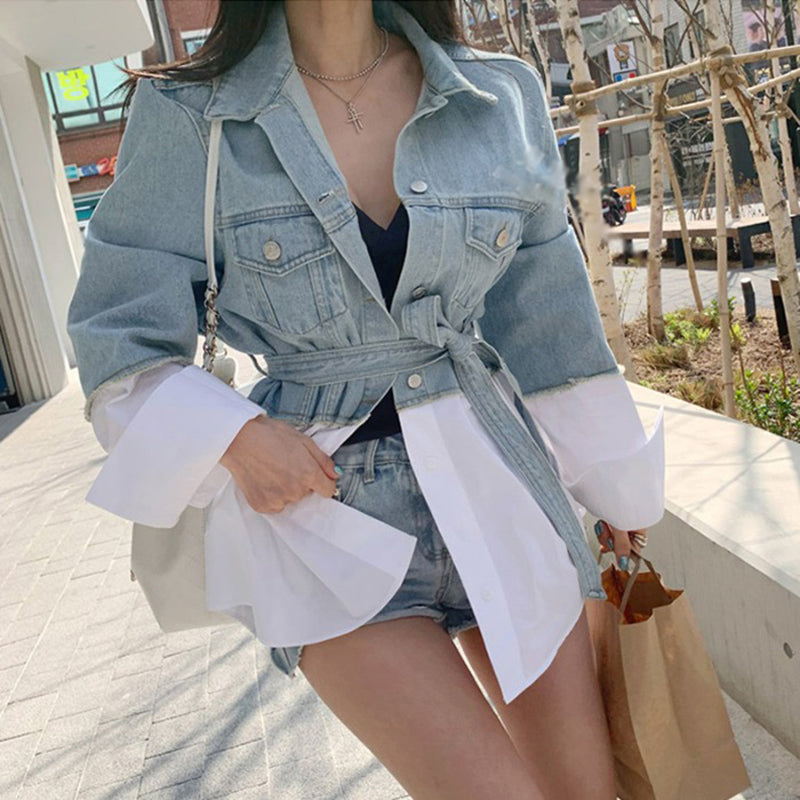 Patchwork Oversized Coat Autumn Fashion Lapel Long Sleeve With Sashes Women Denim Jacket