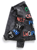Don't Follow Any Body Street Wear Distress mens Denim jacket