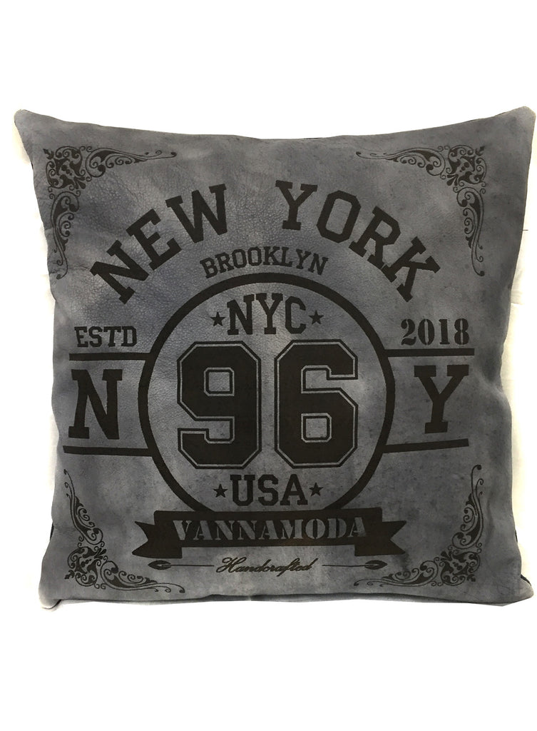 NYC -Leather Engrave Cushion Cover