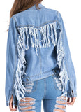 Spring And Summer  Street Fashion Women Fringes Design Blue Denim Jacket/Shirt Jacket
