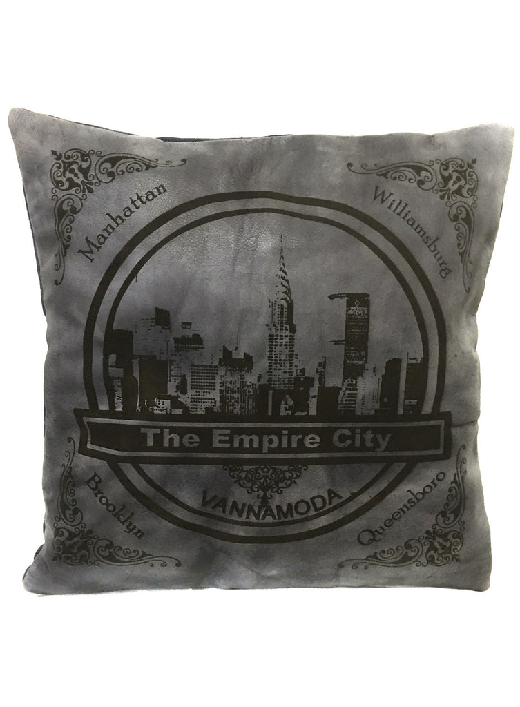 Leather Engrave Cushion Cover - Empire City Skyline