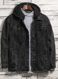 9009 Denim Hooded Jacket,Denim Fur Jacket,Denim Jacket