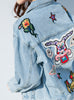 9046 Blazer Jean,Embroidery Denim Jacket,Blusa Jean