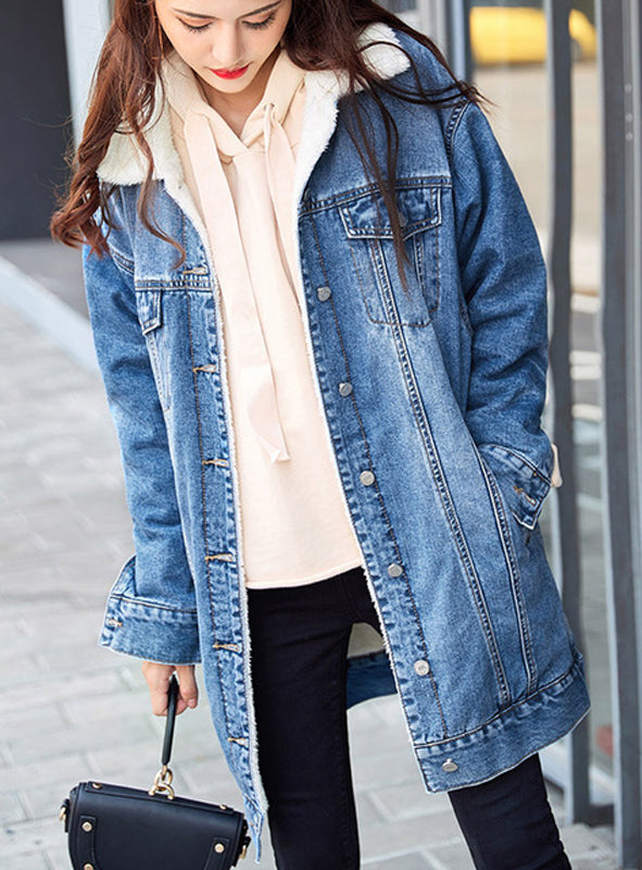 9063 Ladies Jean Jacket Girls,Wool Jean Jacket For Women -Warm jacket Collection