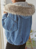 9100 Fur Collar Jean Jacket,Denim Over sized Denim Jacket- Warm jacket Collection