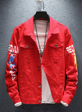 9107  Jean Jacket,Fashionable Jean Jacket,  Print Denim Jacket - Street fashion