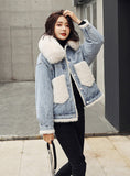 9108 Denim And Fur Jacket,Denim Winter Jacket For Woman- Warm jacket collection