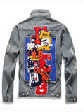 9113 Men Blazer And Jean,Lined Denim Jacket