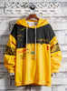 Autumn contrast color stitching drawstring hooded sweater men's large size loose casual sweatshirt trend wild jacket