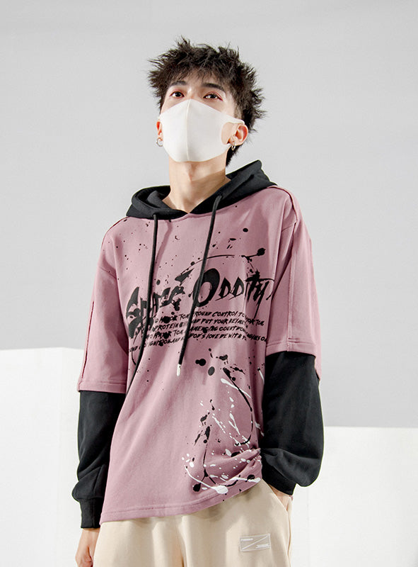 Autumn hooded sweater men's long-sleeved casual loose clothes  version of the trend of fake two men's pullover tops
