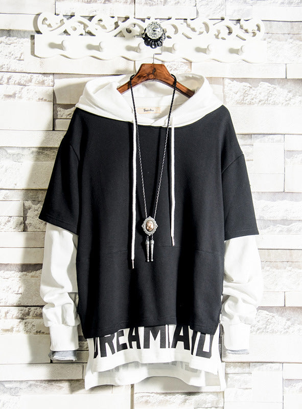 Autumn new  stitching hoodie men's loose sweatshirt large size trend sweater  two coat look