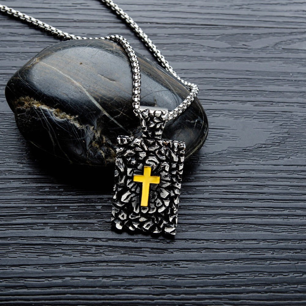 Letters Engraved Stainless Steel Rustic Cross Black Religious Pendant - Vintage