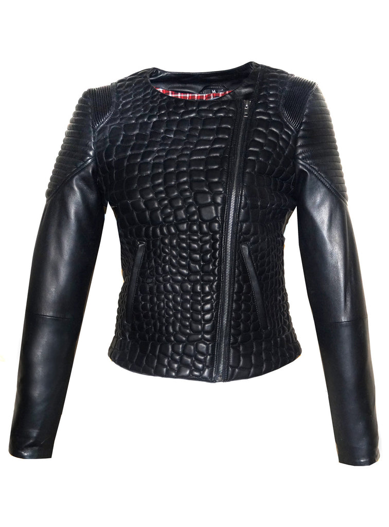 Hand Crafted Women Designer Croco Quilted Motorcycle Moto Biker Jacket