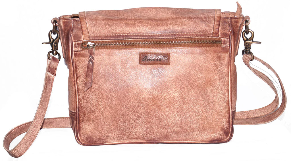 Vannamoda Peter Multi Pockets Across Body Shoulder Real Leather Bag (Leather Weave)