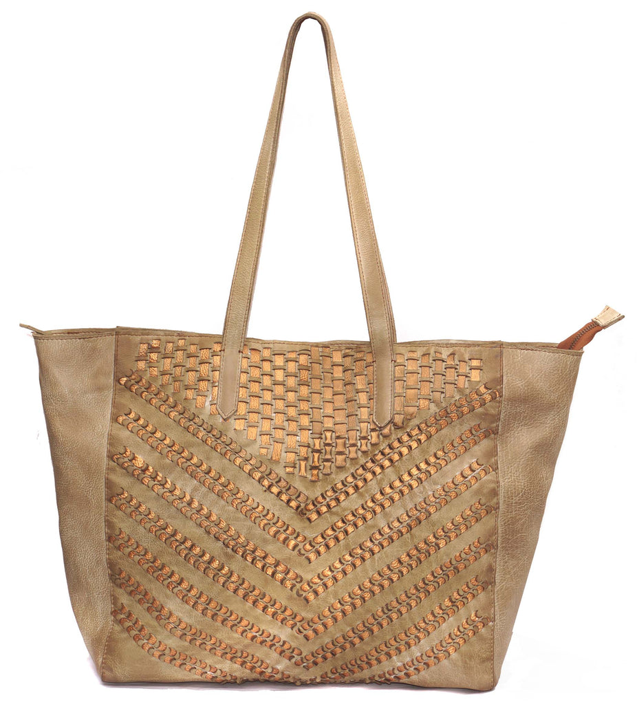 Vannamoda Leather Women Tote Bag With Metallic Leather Weave