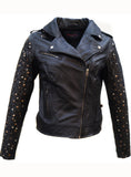 RockStuds Woman Leather Moto Biker Jacket Studded Sleeve