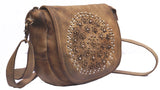 Vannamoda Omega Flap Embellished Women Leather Saddle Handbag