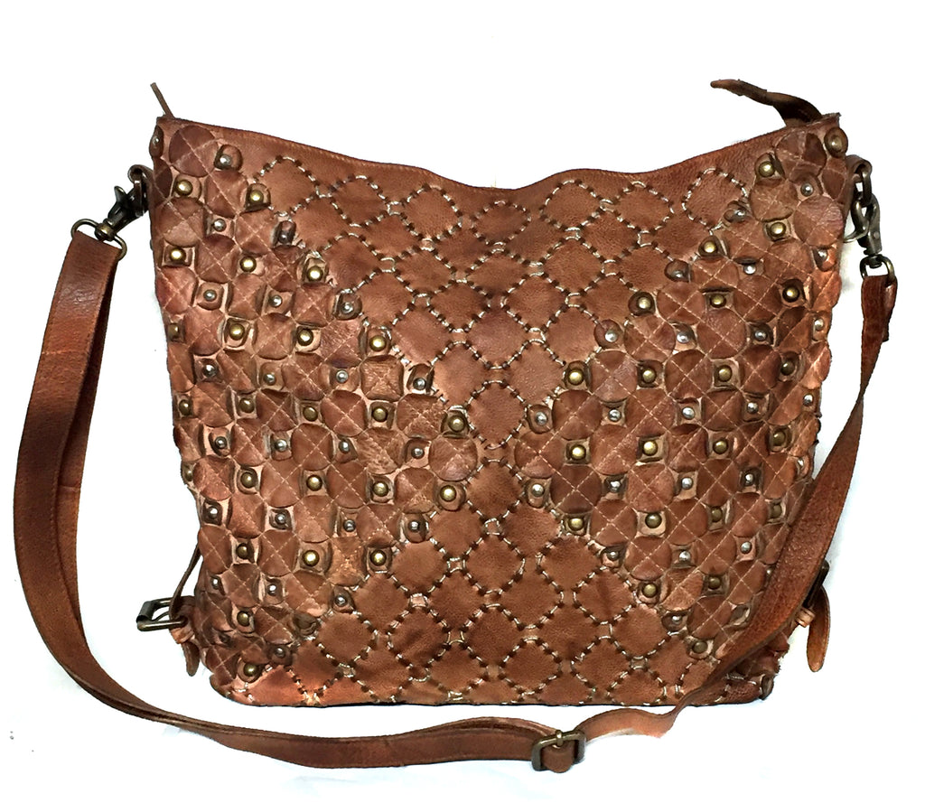 Designer Washed Leather Sequence / Kantha Stitch Rivet bag