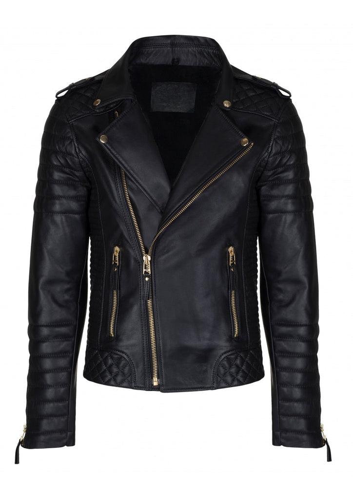 Crabrocks Men Designer Padded Motorcycle Leather Jacket XS / LEATHER / Black, Men Jacket - CrabRocks, LeatherfashionOnline  - 1