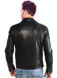 Men Washed Vintage Lamb MotorCycle Biker Jacket , Men Jacket - CrabRocks, LeatherfashionOnline  - 2