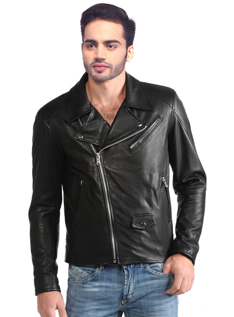 Men Washed Vintage Lamb MotorCycle Biker Jacket XS / LEATHER / Black, Men Jacket - CrabRocks, LeatherfashionOnline  - 1