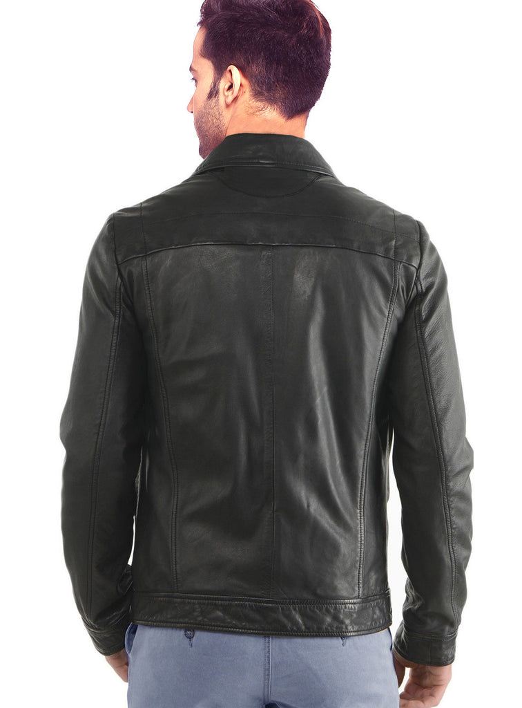 Men Classic Washed Motorcycle Biker Leather Jacket , Men Jacket - CrabRocks, LeatherfashionOnline  - 2
