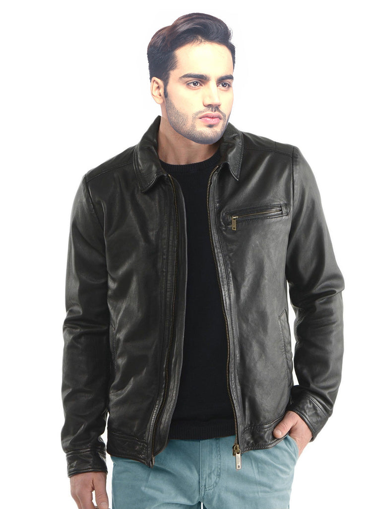 Men Classic Washed Motorcycle Biker Leather Jacket , Men Jacket - CrabRocks, LeatherfashionOnline  - 3