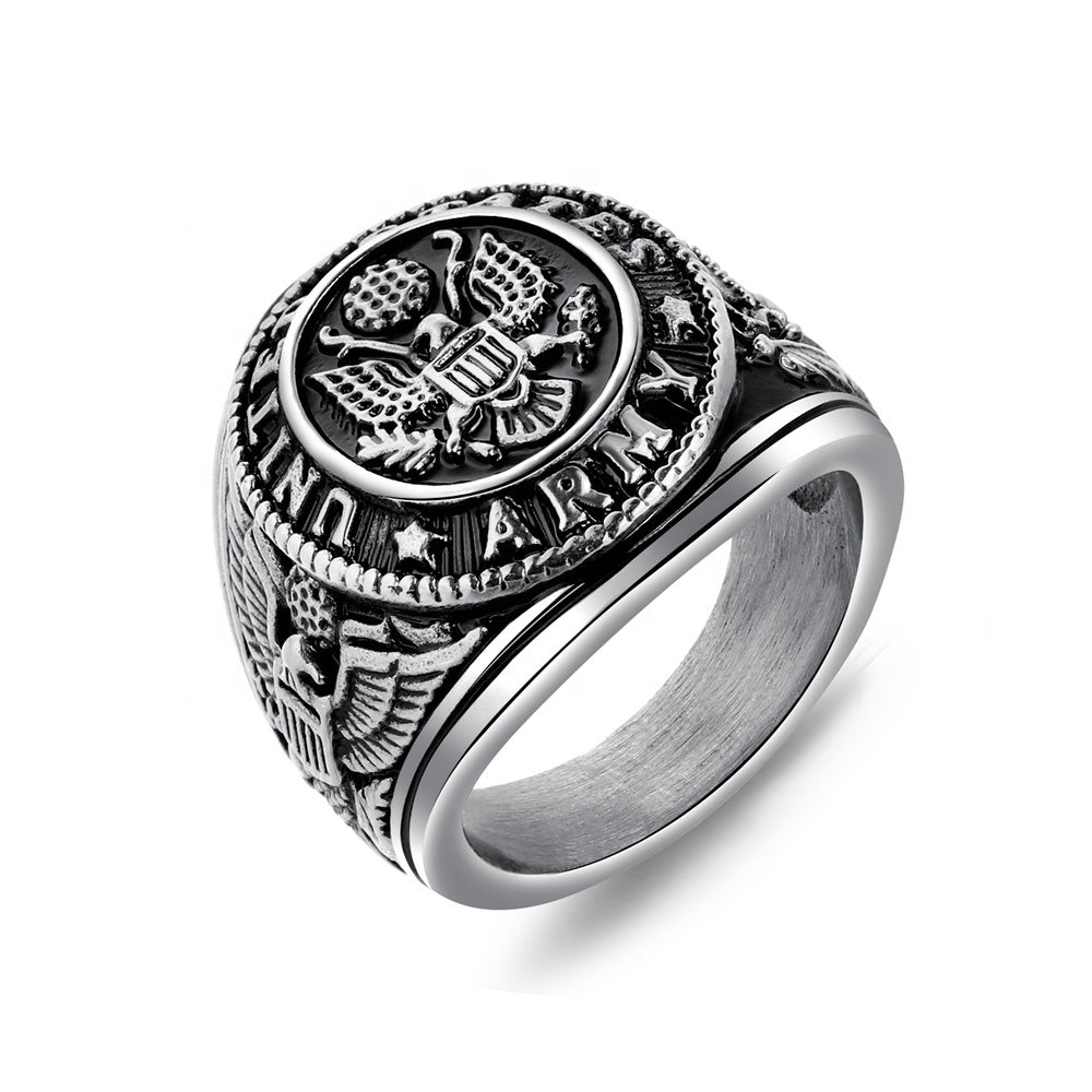 Mens Classic Wholesale Special Attractive United Silver Vintage Army Ring