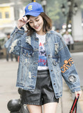 S175 New Fashion Ripped Embroidered Blue Jacket