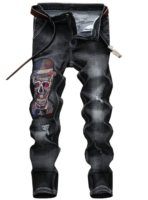 S429 New Design Skull Embroidered Mens  Jean
