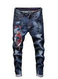 S437 New Designer Embroidered Fish jeans Mens pant