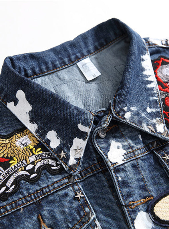 S458 Blue Denim Jacket Without Sleeve,Jean Denim Jacket Print,Sleeveless Denim Jacket
