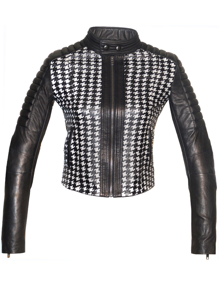 Women Leather Tweed Cut Bonded Biker Jacket , Leather Jacket - Crabrocks, LeatherfashionOnline  - 3