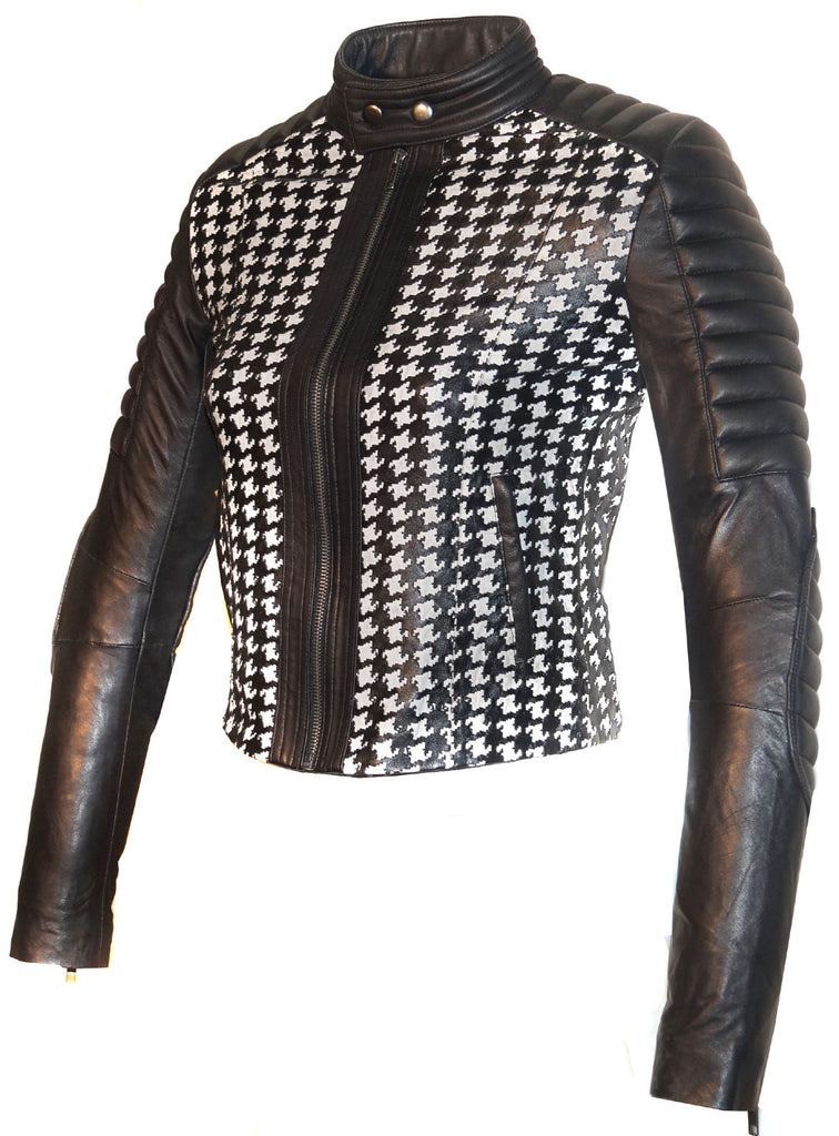 Women Leather Tweed Cut Bonded Biker Jacket , Leather Jacket - Crabrocks, LeatherfashionOnline  - 1