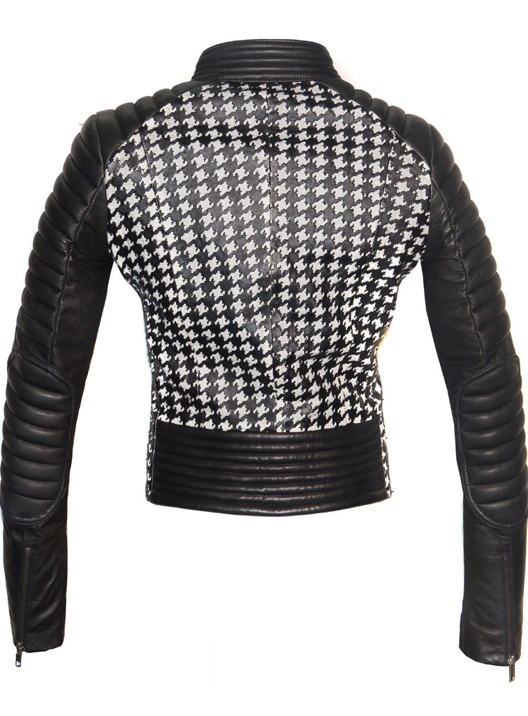Women Leather Tweed Cut Bonded Biker Jacket , Leather Jacket - Crabrocks, LeatherfashionOnline  - 2