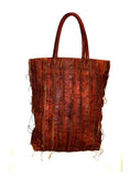 NYC Striped Leather Vintage Washed Tote Bag- New