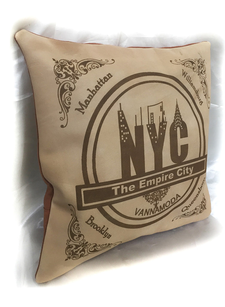Leather Engrave Cushion Cover - Empire City NYC
