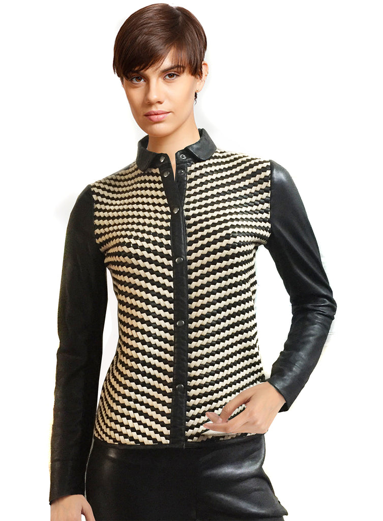 VERA WOMAN LEATHER SHIRT WITH LEATHER CONTRAST WEAVE